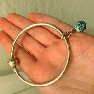 Authentic Pandora Bangle Bracelet w/1 charm